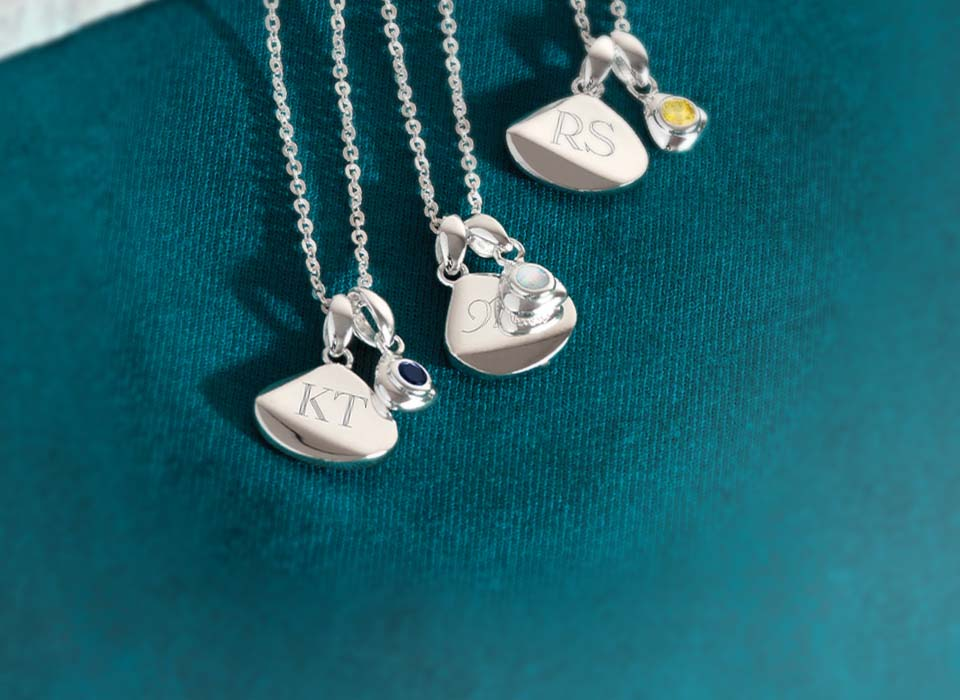 Coast Engravable Birthstone Tag necklace with September, October and November birthstones   Great British Jewellery Design by Kit Heath