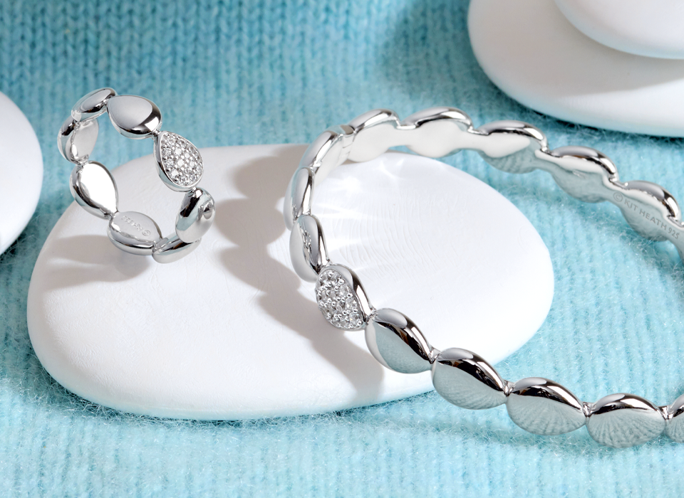Coast inspired 'Pebbles' sterling silver jewellery bangle and ring with pave set cubic zirconia.