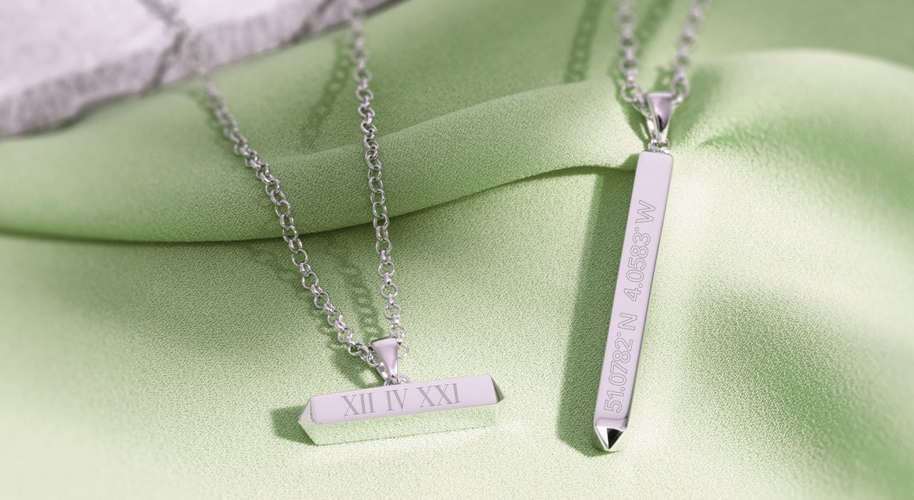 Kit Heath Empire Manhattan sterling silver 'bar' necklaces with personalised engraving.