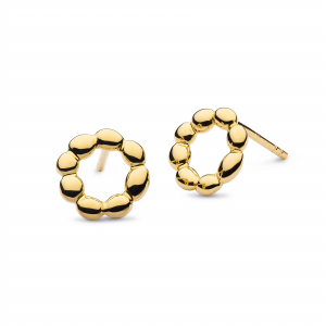 Coast Pebble Beach Hoop Gold Stud Earrings