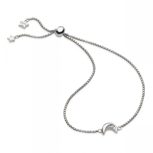 Miniature Sparkle CZ Mini Moon Toggle Bracelet by Kit Heath in Rhodium Plated Sterling Silver