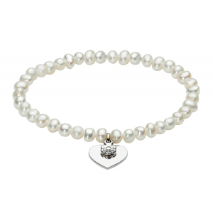Girls Freshwater Pearl Flower Heart Bracelet