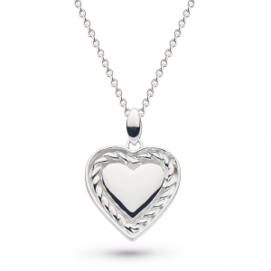 Engravable Framed Twist Heart Necklace