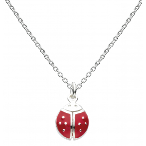 Girls Large Flying Graceful Ladybird Enamel Necklace