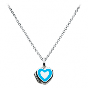 Girls Blue Heart Locket Necklace