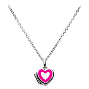Girls Fuchsia Heart Locket Necklace