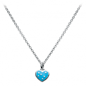 Girls Polka Dot Blue Heart Necklace
