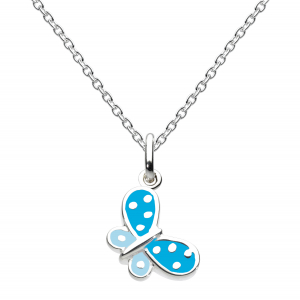 Girls Butterfly Kisses Blue Enamel Necklace