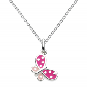 Girls Butterfly Kisses Pink Enamel Necklace