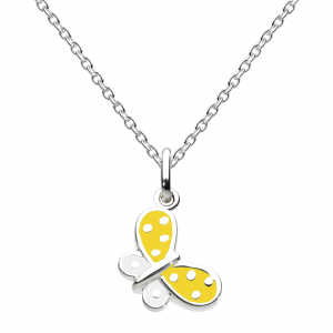 Girls Butterfly Kisses Yellow Enamel Necklace