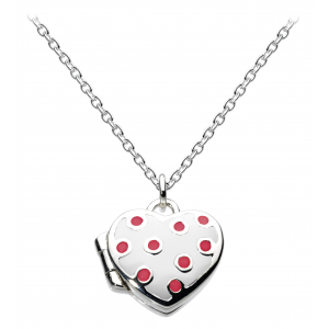 Girls Delightfully Dotty Heart White Enamel Locket Necklace