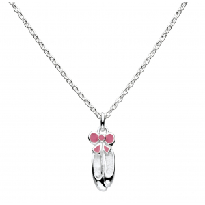 Girls Enamel Pointe Ballet Shoe Necklace