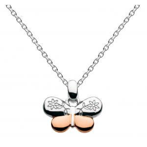 Girls Vintage Butterfly Rose Gold Plate Necklace