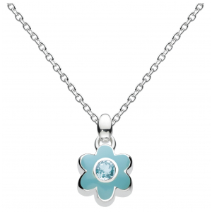 Girls March Aquamarine CZ Birthday Flower Necklace