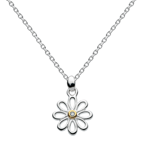 Girls Flower Petals Gold Diamond Necklace