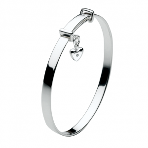 Girls Diamond Heart Bangle