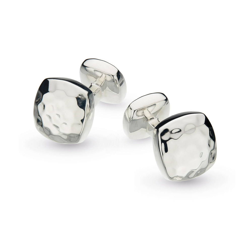 Sterling Silver Pebble Domed Square Hammered Cufflinks by Kit Heath
