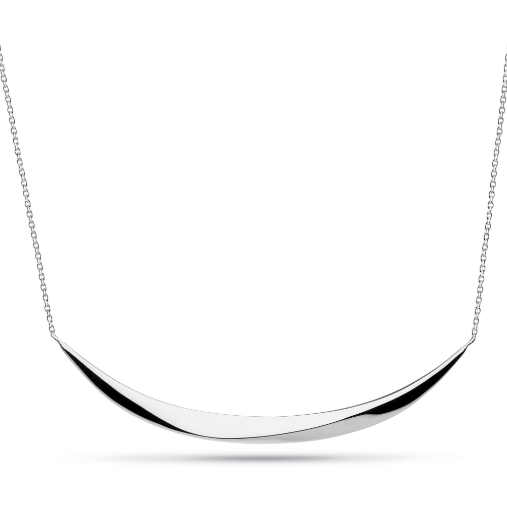 Sterling Silver Bevel Curve Wide Bar Necklace by Kit Heath