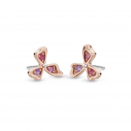 Blossom Petal Bloom Rose Stud Earrings by Kit Heath in Sterling Silver with 18ct Rose Gold Plated Detail