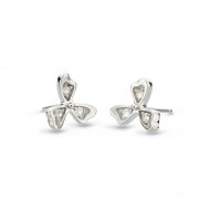 Blossom Petal Bloom White Topaz Petal Stud by Kit Heath in Rhodium Plated Sterling Silver