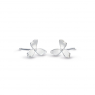 Blossom Petal Bloom Small Stud Earrings by Kit Heath in Rhodium Plated Sterling Silver