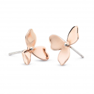 Blossom Petal Bloom Rose Gold Stud Earrings by Kit Heath in Rhodium Plated Sterling Silver with 18ct Rose Gold Plated Detail