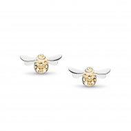 Blossom Flyte Honey Bee Stud Earrings by Kit Heath in Rhodium Plated Sterling Silver with 18ct Gold Plated Detail