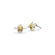 Blossom Bumblebee Gold Stud Earrings by Kit Heath in Sterling Silver with 18ct Gold Plated Detail