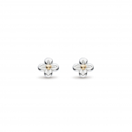 Blossom Flyte Honey Flower Stud Earrings by Kit Heath in Rhodium Plated Sterling Silver with 18ct Gold Plated Detail