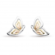 Blossom Flyte Butterfly Tri Colour Stud Earrings by Kit Heath in Rhodium Plated Sterling Silver with 18ct Gold and Rose Gold Plated Detail