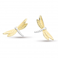 Blossom Flyte Dragonfly Stud Earrings by Kit Heath in Rhodium Plated Sterling Silver with 18ct Gold Plated Detail