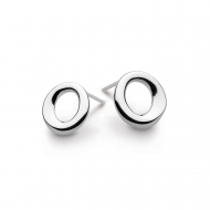 Sterling Silver Bevel Cirque Small Stud Earrings by Kit Heath