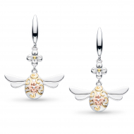 Blossom Flyte Queen Honey Bee Drop Earrings by Kit Heath in Rhodium Plated Sterling Silver with 18ct Gold and Rose Gold Plated Detail