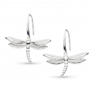 Blossom Flyte Dragonfly Drop Earrings by Kit Heath in Rhodium Plated Sterling Silver