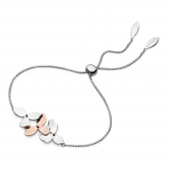 Blossom Petal Bloom Toggle Bracelet by Kit Heath in Rhodium Plated Sterling Silver with 18ct Rose Gold Plated Detail