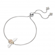 Blossom Flyte Queen Honey Bee Toggle Bracelet by Kit Heath in Rhodium Plated Sterling Silver with 18ct Gold and Rose Gold Plated Detail