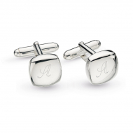 Domed Square Engravable Cufflinks by Kit Heath in Rhodium Plated Sterling Silver