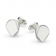 Sterling Silver Facet Round Engravable Cufflinks by Kit Heath