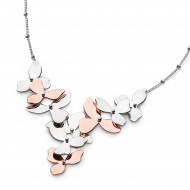 Blossom Petal Bloom Cluster Necklet by Kit Heath in Rhodium Plated Sterling Silver with 18ct Rose Gold Plated Detail