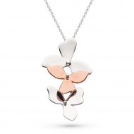Blossom Petal Bloom Trio Rose Gold Necklace by Kit Heath in Rhodium Plated Sterling Silver with 18ct Rose Gold Plated Detail