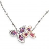 Blossom Petal Bloom Rose Necklet by Kit Heath in Rhodium Plated Sterling Silver with 18ct Rose Gold Plated Detail