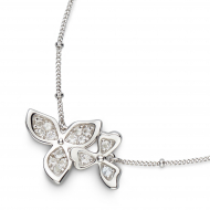 Blossom Petal Bloom White Topaz Necklet by Kit Heath in Rhodium Plated Sterling Silver