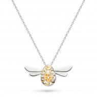 Blossom Flyte Midi Honey Bee Necklace by Kit Heath in Rhodium Plated Sterling Silver with 18ct Gold Plated Detail