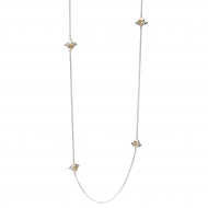 Blossom Bumblebee Station Necklace by Kit Heath in Sterling Silver with 18ct Gold Plated Detail