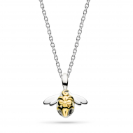 Blossom Bumblebee Small Gold Necklace by Kit Heath in Sterling Silver with 18ct Gold Plated Detail