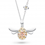 Blossom Flyte The Queen Honey Bee Necklace by Kit Heath in Rhodium Plated Sterling Silver with 18ct Gold and Rose Gold Plated Detail