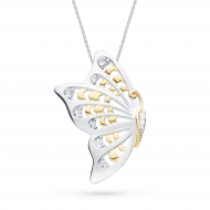 Blossom Flyte Butterfly White Topaz Statement Necklace by Kit Heath in Rhodium Plated Sterling Silver with 18ct Gold Plated Detail