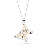 Blossom Flyte Butterfly Tri Colour Necklace by Kit Heath in Rhodium Plated Sterling Silver with 18ct Gold and Rose Gold Plated Detail