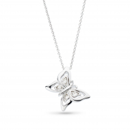 Blossom Flyte Butterfly White Topaz Necklace by Kit Heath in Rhodium Plated Sterling Silver