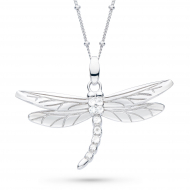 Blossom Flyte Dragonfly White Topaz Statement Necklace by Kit Heath in Rhodium Plated Sterling Silver